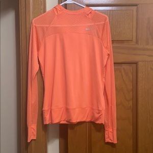 Nike Dri-Fit mesh hoodie. Size large. EUC. Orange.